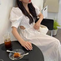 Women's large Summer 2021 white Average size Dress singleton  commute Straight cylinder Short sleeve Solid color Korean version square neck cotton routine JM921032702 91% (inclusive) - 95% (inclusive) longuette Cotton 96% and above
