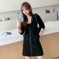Dress Autumn 2020 White, black, grey S,M,L,XL,2XL Middle-skirt singleton  Long sleeves commute Hood Solid color zipper A-line skirt routine 18-24 years old Type H Korean version zipper 30% and below cotton