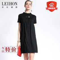 Dress Spring 2017 Black 01 M,L,XL,2XL,3XL,4XL Middle-skirt singleton  Short sleeve commute other Loose waist Solid color Socket Pencil skirt routine Others 30-34 years old Type H Leihon / Li Hong International Simplicity Three dimensional decoration, nail bead, zipper W36787 nylon