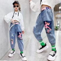 trousers Dudumiqi female The recommended height is 110cm for Size 110, 120cm for Size 120, 130cm for Size 130, 140cm for size 140, 150cm for size 150 and 160cm for size 160 Picture color spring and autumn trousers leisure time There are models in the real shooting Jeans Leather belt middle-waisted