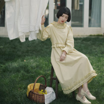Dress Spring 2021 Beige S. M, s (pre sale), m (pre sale) longuette singleton  Long sleeves Sweet Lotus leaf collar High waist Solid color Socket Princess Dress bishop sleeve Others 18-24 years old Type X However, he Feng Ruffles, ruffles, folds, Auricularia auricula More than 95% cotton solar system