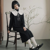 Dress Winter 2020 black S (model 155cm), m (shopkeeper 166cm), s (pre-sale 3-15 days), m (pre-sale 3-15 days) longuette singleton  Long sleeves Sweet High collar Loose waist Solid color Socket Pencil skirt routine 18-24 years old Type H However, he Feng More than 95% other solar system