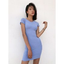 Dress Summer 2020 Purple, blue, peacock blue, khaki, dark gray, black, green S, M Miniskirt singleton  Short sleeve street Crew neck High waist Solid color Socket One pace skirt routine 18-24 years old Type H fungus 91% (inclusive) - 95% (inclusive) cotton Europe and America