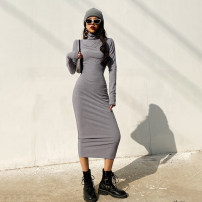 Dress Spring 2021 Black, light grey, dark grey, khaki, brown S, M longuette singleton  Long sleeves street High collar High waist Solid color Socket One pace skirt routine 18-24 years old Type H cotton Europe and America