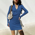Dress Winter 2020 Blue, green, khaki, red, dark gray, black S, M Short skirt singleton  Long sleeves street Half high collar High waist Solid color zipper One pace skirt routine 18-24 years old Type H 71% (inclusive) - 80% (inclusive) Europe and America