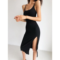 Dress Summer 2020 S, M Mid length dress singleton  Sleeveless street square neck High waist Solid color Socket One pace skirt other camisole 18-24 years old Type H Open back, lace up, bandage 91% (inclusive) - 95% (inclusive) cotton Europe and America