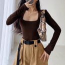 T-shirt Black, white, khaki, dark grey, coffee S, M Spring 2021 Long sleeves square neck Self cultivation Regular routine street other 86% (inclusive) -95% (inclusive) 18-24 years old Solid color Europe and America