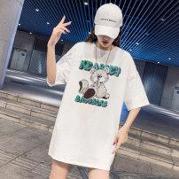 T-shirt White (green bear), white (black bear), white (three bears), white (Hoodie bear), white (rabbit), white (Doraemon), white (letter), black (green bear), black (black bear), black (three bears), black (Hoodie bear), black (rabbit), black (Doraemon), black (letter) S,M,L,XL,2XL Spring 2021 easy