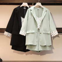 Women's large Spring 2021 Black (three piece set), green (three piece set) L [90-115 Jin recommended], XL [115-135 Jin recommended], 2XL [135-155 Jin recommended], 3XL [155-175 Jin recommended], 4XL [175-200 Jin recommended] suit Three piece set commute easy moderate Cardigan elbow sleeve Dot routine