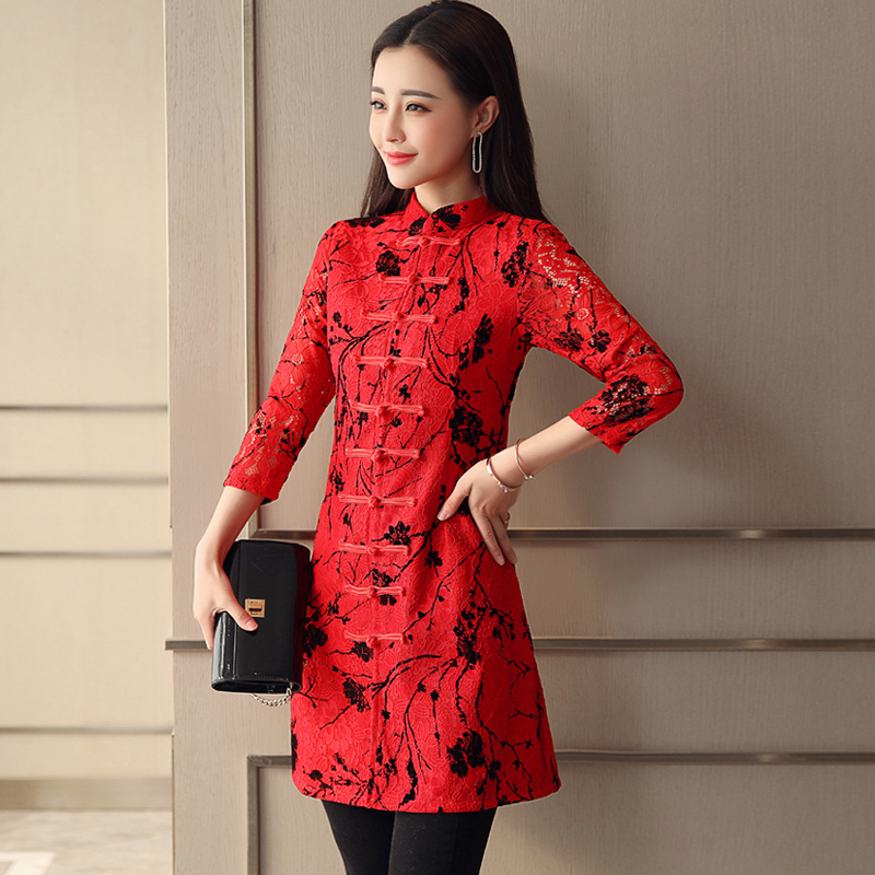 jacket Spring of 2018 Elegant black Chinese Red atmospheric red Atmospheric Black Red Black S M L XL XXL XXXL DA8860 25-35 years old Tencel 51% (inclusive) - 70% (inclusive)