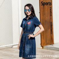 Women's large Spring 2018, summer 2018 blue Large XL, large XXL Dress Short sleeve Xiangyiya Garden