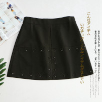 skirt Summer of 2018 S M L black Short skirt commute High waist A-line skirt Solid color Type A 30% and below other Other / other Korean version