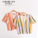 shirt Orange red stripe, purple green stripe, purple flower with yellow background, apricot flower with black background, white flower with black background, white flower with yellow background S,M,L Spring 2021 other 30% and below Short sleeve Versatile Short style (40cm < length ≤ 50cm) V-neck