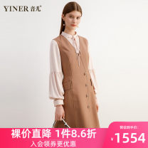Dress Autumn 2020 coffee 36 38 40 42 44 46 Middle-skirt singleton  Nine point sleeve commute Crew neck Socket A-line skirt routine 30-34 years old Type X Sound Ol style Hollowing out 8C30305180 51% (inclusive) - 70% (inclusive) wool Same model in shopping mall (sold online and offline)