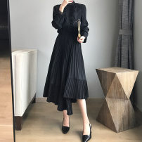 skirt Spring of 2019 Average size Grey Spot, grey pre-sale 3-5 days, black spot, black pre-sale 3-5 days, caramel, caramel pre-sale 3-5 days Mid length dress commute High waist other Solid color Type A 25-29 years old DZ361 More than 95% other charing road polyester fiber Korean version