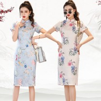cheongsam Spring 2021 M,L,XL,XXL,XXXL Short sleeve Qipao Retro High slit daily Oblique lapel Decor 25-35 years old Piping Maple Rose Silk silk