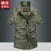 shirt Fashion City Others M,L,XL,2XL,3XL,4XL Khaki, army green, dark blue routine Pointed collar (regular) Short sleeve easy Other leisure summer youth Military brigade of tooling 2020 Solid color Denim washing cotton other Easy to wear More than 95%