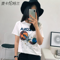 T-shirt S M L XL Summer of 2019 Short sleeve Crew neck easy Regular routine commute cotton 86% (inclusive) -95% (inclusive) 18-24 years old Simplicity originality Cartoon letters Macallan grand DCC001 printing Cotton 93.5% polyurethane elastic fiber (spandex) 6.5% Pure e-commerce (online only)