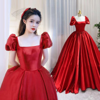 Dress / evening wear Wedding, adulthood, party, company annual meeting, performance Red, red chiffon, red chiffon princess longuette middle-waisted Spring 2021 Fall to the ground square neck Bandage Brocade 18-25 years old Long sleeves puff sleeve