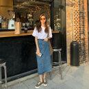 skirt Spring 2021 S,M,L blue Mid length dress High waist Type H KM4176-LP