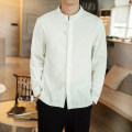shirt Youth fashion Others M,L,XL,2XL,3XL,4XL,5XL White, black, apricot, navy routine stand collar Long sleeves standard daily spring youth Chinese style Solid color Linen washing hemp