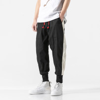Casual pants Others Youth fashion Gray, black M,L,XL,2XL,3XL,4XL,5XL routine trousers Other leisure easy No bullet youth tide middle-waisted Little feet Haren pants Color contrast washing Solid color hemp Cotton and hemp