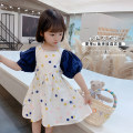 Dress Dark blue, green female Grapefruit rabbit 90cm,100cm,110cm,120cm,130cm Other 100% summer Korean version Short sleeve Dot Cotton blended fabric A-line skirt Class B 7 years old, 8 years old, 3 years old, 6 years old, 18 months old, 2 years old, 5 years old, 4 years old Chinese Mainland