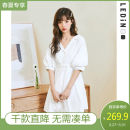 Dress Spring 2021 White (with sling skirt) full size expected to be issued on April 8, black full size expected to be issued on April 13, white (with sling skirt) (in stock) black (in stock) S M L Short skirt singleton  Short sleeve Sweet High waist Single breasted A-line skirt puff sleeve Others