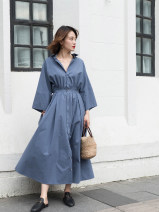 Dress Spring 2020 Haze blue S,M,L longuette singleton  three quarter sleeve commute square neck High waist Solid color Single breasted Big swing Sleeve 25-29 years old Type X LASKA Retro 18T082S More than 95% other cotton