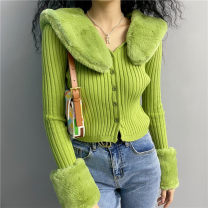 sweater Autumn 2020 Average size Black, white, green, beige Long sleeves Cardigan singleton  have cash less than that is registered in the accounts polyester fiber 31% (inclusive) - 50% (inclusive) V-neck Regular street routine Solid color Self cultivation 18-24 years old polyester fiber cotton