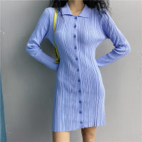 Dress Autumn 2020 Purple, blue S, M Short skirt singleton  Long sleeves street Polo collar Elastic waist Socket other routine 18-24 years old Type X 31% (inclusive) - 50% (inclusive) knitting acrylic fibres Europe and America
