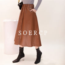skirt Spring 2021 S,M,L,XL Black, brown longuette street High waist A-line skirt Solid color Type A 18-24 years old 31% (inclusive) - 50% (inclusive) other cotton Button Europe and America
