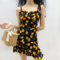 Dress Summer 2020 Black, white S,M,L Short skirt singleton  Sleeveless street One word collar High waist Socket routine camisole 18-24 years old Type A 31% (inclusive) - 50% (inclusive) other other Europe and America