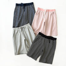 Casual pants Black and white striped pants, blue and white striped pants, gray and white striped pants, pink and white striped pants S,M,L,XL Summer of 2018 Pant Straight pants Natural waist routine 96% and above cotton cotton