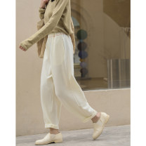 Casual pants Milky white S,M,L Spring 2021 trousers Straight pants Natural waist commute routine 81% (inclusive) - 90% (inclusive) K3907 Ma Lin other literature pocket
