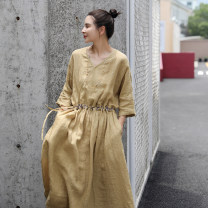 Dress Summer 2021 Olive yellow S,M,L longuette singleton  Nine point sleeve commute V-neck Loose waist Solid color Socket Big swing other Others 30-34 years old Ma Lin literature L3172 More than 95% hemp