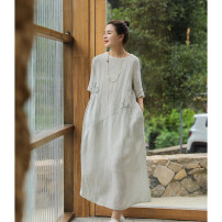 Dress Summer 2021 The sky is blue S,M,L longuette singleton  three quarter sleeve commute Crew neck Loose waist Solid color Socket Big swing Others 30-34 years old Ma Lin literature L3178 More than 95% hemp