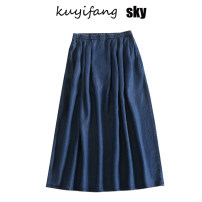 skirt Summer 2020 S,M,L,XL,2XL Xr-1030 dark blue series, xr-1030 light blue series Mid length dress commute Natural waist Denim skirt Solid color Type A 51% (inclusive) - 70% (inclusive) Denim cotton pocket Korean version