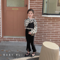 suit Other / other [2-piece top set] flower doll shirt + sling, [single piece] black bell bottom pants The reference height of 5-yard, 7-yard, 9-yard, 11-yard, 13-yard and 15 yard hangtag is 95-105cm, 105-115cm, 115-120cm, 120-125cm, 125-135cm and 135-145cm respectively female spring and autumn