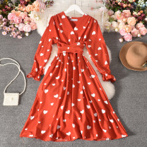 Dress Summer 2020 Apricot, green, yellow, pink, black, red Average size longuette singleton  Long sleeves commute V-neck High waist other Socket A-line skirt routine Others 18-24 years old Type A Korean version printing Yang yan-1366-1 long sleeve love pattern dress 30% and below Chiffon