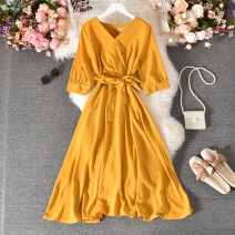 Dress Summer 2020 Black, green, yellow, jujube, brick red, leather powder, denim blue Average size longuette singleton  Short sleeve commute V-neck High waist Decor Socket A-line skirt routine Others 18-24 years old Type A Korean version Fold, print 30% and below other polyester fiber