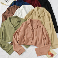 shirt White, black, red, pink, coffee, blue, green, yellow, dark apricot, light apricot, light blue Average size Autumn of 2019 other 30% and below Long sleeves commute Regular tailored collar Single row multi button routine Solid color 18-24 years old Straight cylinder Korean version Print, button