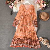 Dress Autumn 2020 Orange, light green, pink, yellow Average size longuette singleton  Long sleeves commute V-neck High waist Decor Socket A-line skirt routine Others 18-24 years old Type A Korean version printing Qiner-9582 Long Sleeve Dress 30% and below other silk