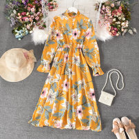 Dress Summer 2020 Green, pink, black, white sunflower, white big flower with yellow background, red broken flower with yellow background, white peony Average size Mid length dress singleton  Long sleeves commute stand collar High waist Decor Socket A-line skirt routine Others 18-24 years old Type A