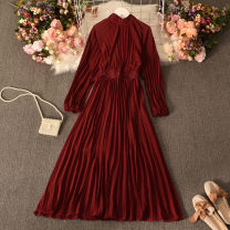 Dress Spring 2021 gules Average size longuette singleton  Long sleeves commute Crew neck High waist Solid color Socket Big swing routine Others 18-24 years old Type A court fold Liuhong-9628 Chiffon discount dress 30% and below other polyester fiber