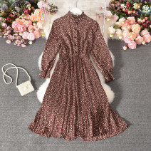 Dress Autumn 2020 Apricot, blue, black, red Average size longuette singleton  Long sleeves commute stand collar High waist Dot Socket Pleated skirt pagoda sleeve Others 18-24 years old Type A Korean version printing Cheng cheng-8896 small floral discount Long Sleeve Dress 30% and below Chiffon