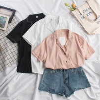 shirt White, black, pink Average size Summer of 2019 other 31% (inclusive) - 50% (inclusive) Short sleeve commute Regular stand collar Single row multi button routine Solid color 18-24 years old Straight cylinder Korean version Prints, pockets, buttons man-made fiber