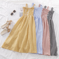 Dress Summer of 2019 Average size Mid length dress singleton  Sleeveless commute One word collar High waist lattice Socket A-line skirt routine camisole 18-24 years old Type A Korean version printing 30% and below other polyester fiber