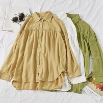 shirt White, apricot, green Average size Autumn of 2019 other 30% and below Long sleeves commute Medium length Polo collar Single row multi button Solid color 18-24 years old Straight cylinder Korean version Button blending