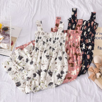 Dress Summer 2020 Average size Mid length dress singleton  Sleeveless commute One word collar High waist Broken flowers Socket A-line skirt other camisole 18-24 years old Type A Korean version Fold, print 30% and below other polyester fiber